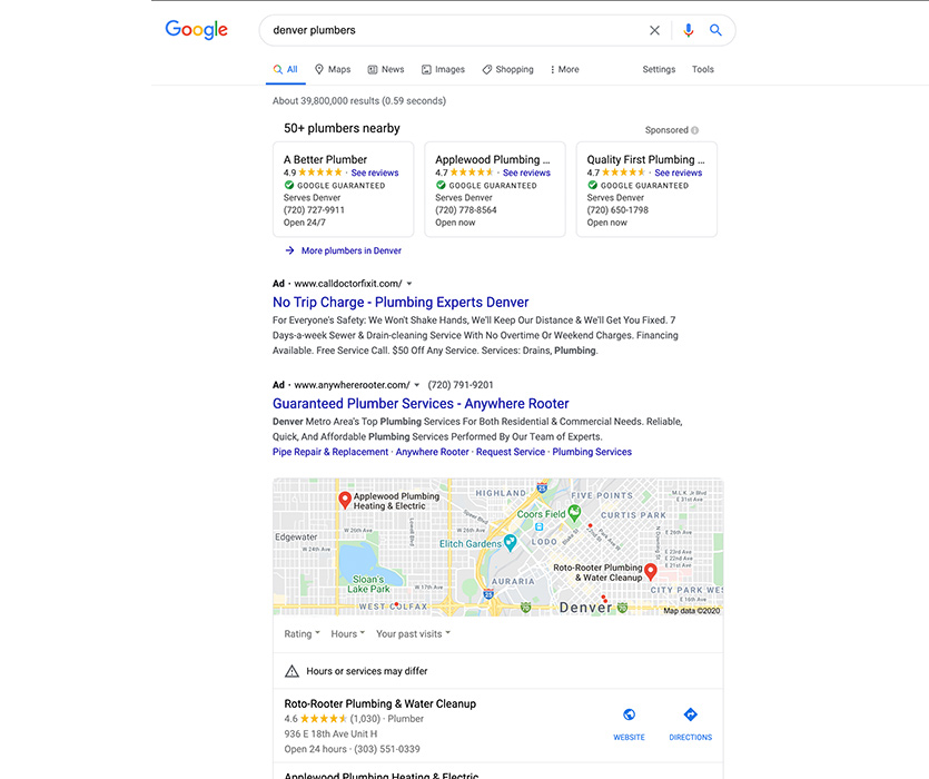 Image of Google Search for Plumbers