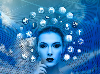 Image of woman with social media icons