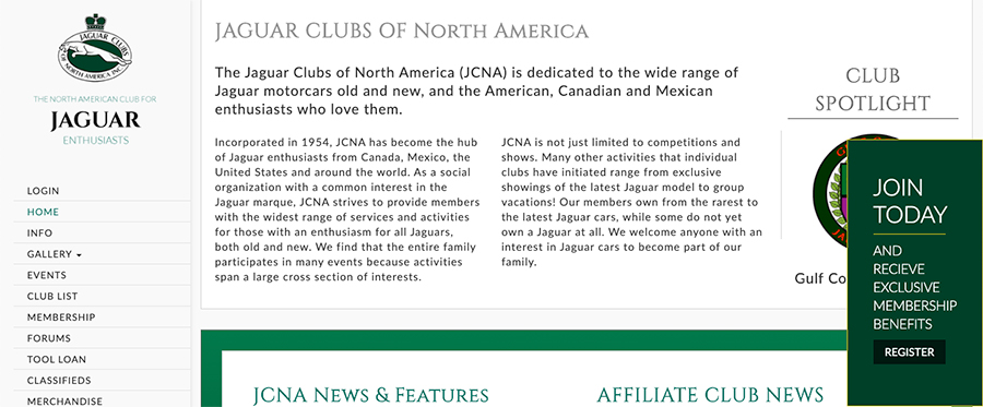 Mockups of Jagaur Club of North America Website